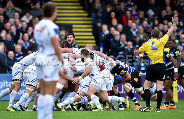 Rob Webber celebrates as Bath Rugby are awarded a penalty at a scrum. Aviva Premiership match, between Bath Rugby and Exeter Chiefs on October 17, 2015 at the Recreation Ground in Bath, England. Photo by: Patrick Khachfe / Onside Images