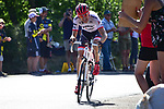 Bauke Mollema (NED) Trek-Segafredo approaches the finish solo during Stage 15 of the 104th edition of the Tour de France 2017, running 189.5km from Laissac-Severac l'Eglise to Le Puy-en-Velay, France. 16th July 2017.<br /> Picture: ASO/Pauline Ballet   Cyclefile<br /> <br /> <br /> All photos usage must carry mandatory copyright credit (&copy; Cyclefile   ASO/Pauline Ballet)