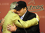 Pitcher Roger Clemens hugs owner Drayton McLane at the press conference announcing his return to the Houston Astros Wednesday May 31,2006.