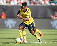 CHARLOTTE, NC - JULY 20: Eddie Nketiah #30 during a game between ACF Fiorentina and Arsenal at Bank of America Stadium on July 20, 2019 in Charlotte, North Carolina.