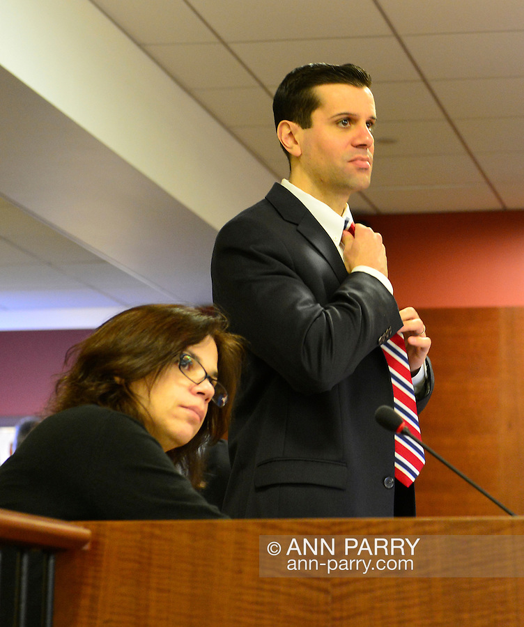 Feb. 25, 2013 - Mineola, New York, U.S. - Nassau County Legislator MICHAEL VENDITTO (Rep - LD 12) is at legislature meeting whose main topic is the controversial Redistricting Map proposed by Republicans. The legislature postponed the vote on the map shortly before 1 AM the morning of February 26, nearly 12 hours after the meeting started on 1:30 PM Feb. 25. Over 100 members of the public submitted Speakers Forms, and the meeting was so well attended that some visitors had to stand in the chambers or watch in other rooms of the legislative building.