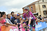 Elia Viviani (ITA) Quick-Step Floors wearing the the Maglia Ciclamino arrives at sign before the start of Stage 9 of the 2018 Giro d'Italia, running 225km from Pesco Sannita to Gran Sasso d'Italia (Campo Imperatore), this year's Montagna Pantani, Italy. 13th May 2018.<br /> Picture: LaPresse/Fabio Ferrari | Cyclefile<br /> <br /> <br /> All photos usage must carry mandatory copyright credit (&copy; Cyclefile | LaPresse/Fabio Ferrari)
