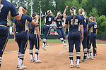 12 May 2016: Pitt's Ashlee Sills (3) and Olivia Gray (6) bump during player introductions. The Florida State University Seminoles played the University of Pittsburgh Panthers at Dail Softball Stadium in Raleigh, North Carolina in a 2016 Atlantic Coast Conference Softball Tournament quarterfinal game. Florida State won the game 8-0 by run rule with one out in the bottom of the sixth inning.