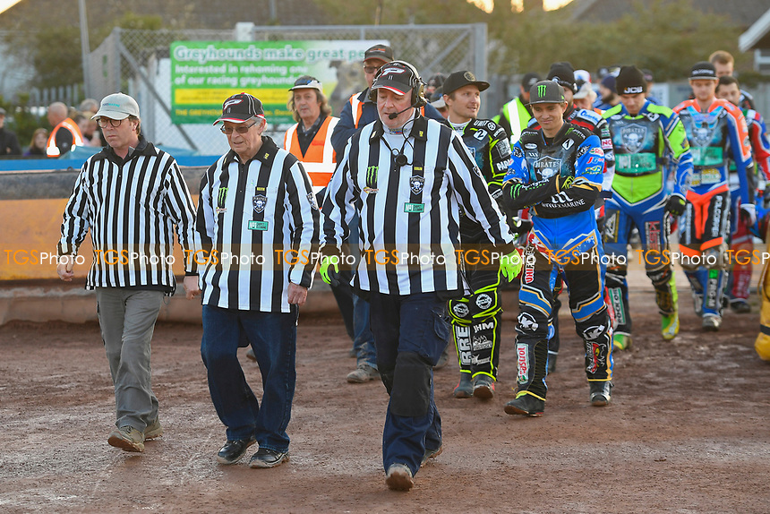 Poole Pirates and King's Lynn Stars are led onto the track during Poole Pirates vs King's Lynn Stars, SGB Premiership Shield Speedway at The Stadium on 11th April 2019