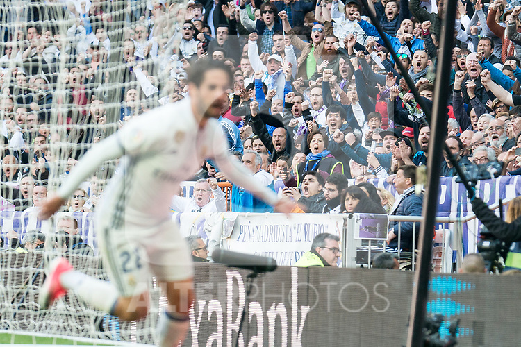 Real Madrid's supporters celebrating a goal during La Liga match between Real Madrid and Deportivo Alaves at Stadium Santiago Bernabeu in Madrid, Spain. April 02, 2017. (ALTERPHOTOS/BorjaB.Hojas)