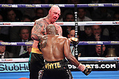 24th March 2018, O2 Arena, London, England; Matchroom Boxing, WBC Silver Heavyweight Title, Dillian Whyte versus Lucas Browne; Dillian Whyte attacks a bloodied Lucas Browne during the centre of the ring