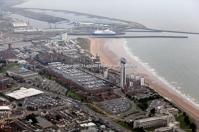 Pictured: Swansea Marina, Meridian Quay block of flats and the Swansea to Cork ferry in the docks. 16 September 2011<br /> Re: Aerial photography, Swansea, south Wales.