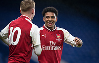 Xavier Amaechi of Arsenal U18 celebrates scoring his goal during the FA Youth Cup FINAL 1st leg match between Chelsea U18 and Arsenal U18 at Stamford Bridge, London, England on 27 April 2018. Photo by Andy Rowland.