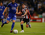 George Baldock of Sheffield Utd tackles Christian Fuchs of Leicester City during the Carabao Cup, second round match at Bramall Lane, Sheffield. Picture date 22nd August 2017. Picture credit should read: Simon Bellis/Sportimage