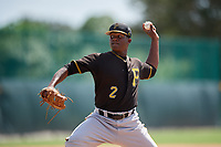 Pittsburgh Pirates relief pitcher Braham Rosario (2) delivers a pitch during a Florida Instructional League game against the Detroit Tigers on October 2, 2018 at the Pirate City in Bradenton, Florida.  (Mike Janes/Four Seam Images)