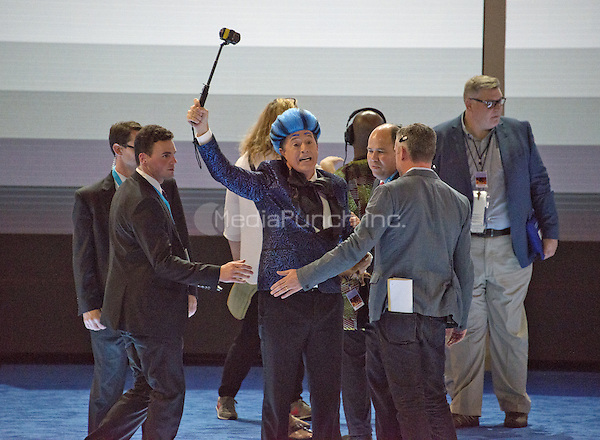 Stephen Colbert, host of The Late Show with Stephen Colbert on CBS-TV, practices a bit on the podium of the floor prior to the 2016 Democratic National Convention held at the Wells Fargo Center in Philadelphia, Pennsylvania on Sunday, July 24, 2016.<br /> Credit: Ron Sachs / CNP/MediaPunch<br /> (RESTRICTION: NO New York or New Jersey Newspapers or newspapers within a 75 mile radius of New York City)
