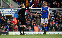 Ipswich Town's Cole Skuse talks to Referee Gavin Ward<br /> <br /> Photographer Hannah Fountain/CameraSport<br /> <br /> The EFL Sky Bet Championship - Ipswich Town v Leeds United - Sunday 5th May 2019 - Portman Road - Ipswich<br /> <br /> World Copyright © 2019 CameraSport. All rights reserved. 43 Linden Ave. Countesthorpe. Leicester. England. LE8 5PG - Tel: +44 (0) 116 277 4147 - admin@camerasport.com - www.camerasport.com