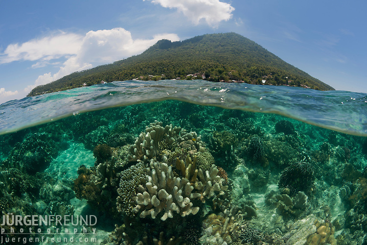 Coral reefs of Bunaken National Park split level with the Manado Tua island