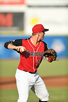 Josh Jung (15) of the Hickory Crawdads in action during a game against the West Virginia Power at L.P. Frans Stadium on July 25, 2019 in Hickory, North Carolina. The Power defeated the Crawdads 3-2. (Tracy Proffitt/Four Seam Images)