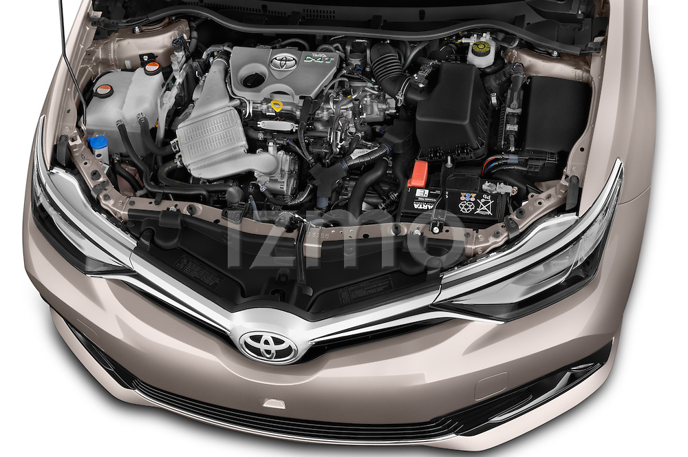 Car Stock2015 Toyota Auris Touring Sports Dynamic 5 Door Wagon Engine high angle detail view