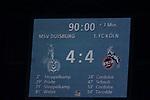 10.04.2019, Schauinsland-Reisen-Arena, Duisburg, GER, 2. FBL, MSV Duisburg vs. 1. FC Koeln,<br />  <br /> DFL regulations prohibit any use of photographs as image sequences and/or quasi-video<br /> <br /> im Bild / picture shows: <br /> Endstand 4:4<br /> <br /> Foto &copy; nordphoto / Meuter