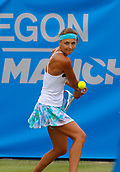 June 13th 2017, The Northern Lawn tennis Club, Manchester, England; ITF Womens tennis tournament; Number two seed Maryna Zanevska (BEL) hits a backhand during her first round singles match against Akiko Omae (JPN); Zanevska won in straight sets