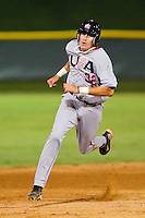 Dominic Ficociello #32 (Arkansas) of the USA Baseball Collegiate National Team hustles towards third base against the Gastonia Grizzlies at Sims Legion Park on June 30, 2011 in Gastonia, North Carolina.  Team USA defeated the Grizzlies 12-5.  Brian Westerholt / Four Seam Images
