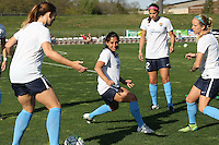 Piscataway, NJ, April 24, 2016.  Sky Blue players warm up prior to the game.  The Washington Spirit defeated Sky Blue FC 2-1 during a National Women's Soccer League (NWSL) match at Yurcak Field.