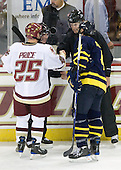Matt Price (BC - 25), Pat Bowen (Merrimack - 4) - The Boston College Eagles defeated the Merrimack College Warriors 4-3 on Friday, October 30, 2009, at Conte Forum in Chestnut Hill, Massachusetts.