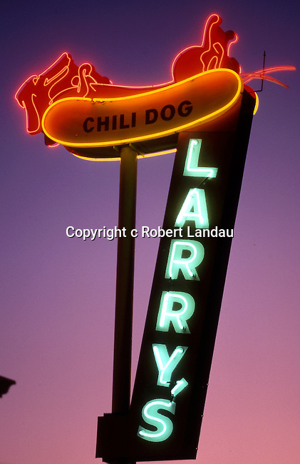 Larry's Chili Dog neon sign in Burbank, CA circa 1989