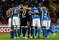BOGOTA - COLOMBIA - 20 – 05 - 2017: Los jugadores de Millonarios, durante partido de la fecha 19 entre Millonarios y Patriotas F.C., por la Liga Aguila I-2017, jugado en el estadio Nemesio Camacho El Campin de la ciudad de Bogota. / The players of Millonarios during a match of the date 19th between Millonarios and Patriotas F.C., for the Liga Aguila I-2017 played at the Nemesio Camacho El Campin Stadium in Bogota city, Photo: VizzorImage / Luis Ramirez / Staff.