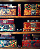 CHINA, Macau, Asia, Antique jewelry boxes at store, close-up
