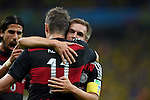 (R-L) Philipp Lahm, Miroslav Klose (GER),<br /> JULY 8, 2014 - Football / Soccer :<br /> Miroslav Klose of Germany celebrates with his teammates Philipp Lahm and Sami Khedira after scoring their second goal during the FIFA World Cup Brazil 2014 Semi-finals match between Brazil 1-7 Germany at Estadio Mineirao in Belo Horizonte, Brazil. (Photo by FAR EAST PRESS/AFLO)