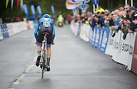 Jack Bauer (NZL) off the start podium<br /> <br /> Tour of Britain<br /> stage 3: ITT Knowsley Safari Park (16.1km)