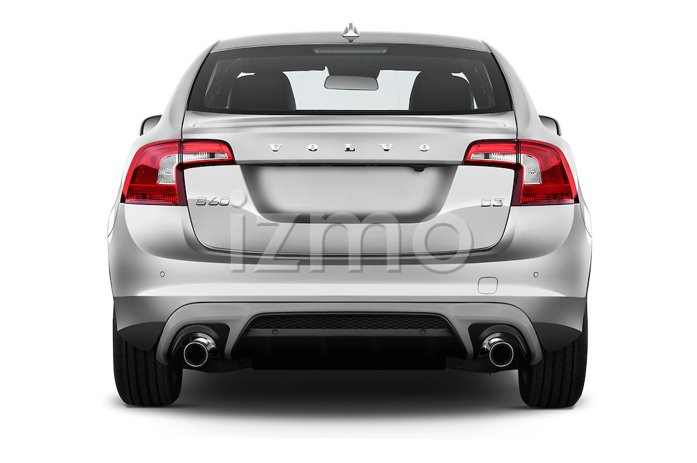 Straight rear view of 2016 Volvo S60 R-Design 4 Door Sedan Rear View  stock images
