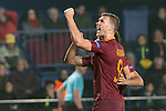 Edin Dzeko of AS Roma celebrates with teammates during the match Villarreal CF vs AS Roma during their UEFA Europa League 2016-17 Round of 32 match at the Estadio de la Cerámica on 16 February 2017 in Villarreal, Spain. Photo by Maria Jose Segovia Carmona / Power Sport Images