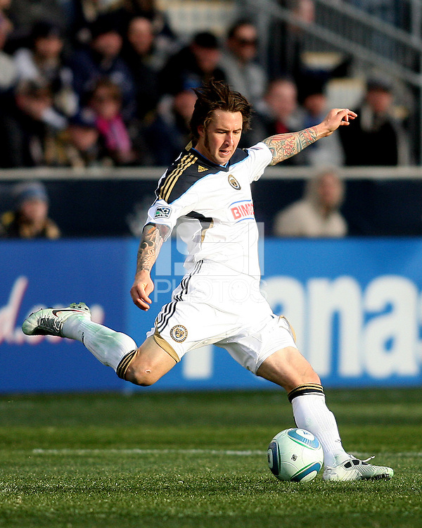 Danny Califf#4 of the Philadelphia Union during an MLS match against the Vancouver Whitecaps at PPL Park in Chester, PA. on March 26 2011.Union won 1-0.