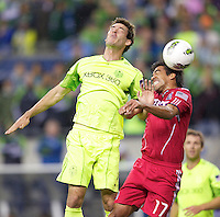 during play between the Seattle Sounders FC and the Chicago Fire in the U.S. Open Cup Final at CenturyLink Field in Seattle Tuesday October 4, 2011. Seattle won the game 2-0 to win its third U.S. Open Cup.
