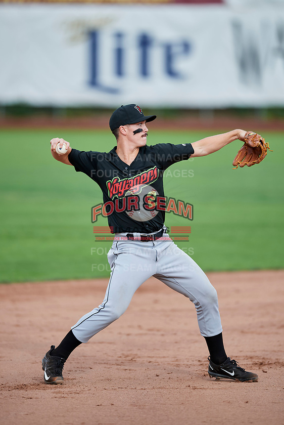JJ Muno (2) of the Great Falls Voyagers during the game against the Ogden Raptors at Lindquist Field on September 14, 2017 in Ogden, Utah. The Raptors defeated the Voyagers 7-4 in Game One of the Pioneer League Championship. (Stephen Smith/Four Seam Images)