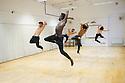 London, UK. 04.01.2014. Choreographer, Salah el Brogy, rehearses his new piece THE RACE, at The Place, prior to performing it at Resolution! festival on the 13th January. The dancers are: Salah el Brogy, Nico Migliorati, Dang Hai Dao, Michael Kelland, Jordan Ajadi. Photograph © Jane Hobson.