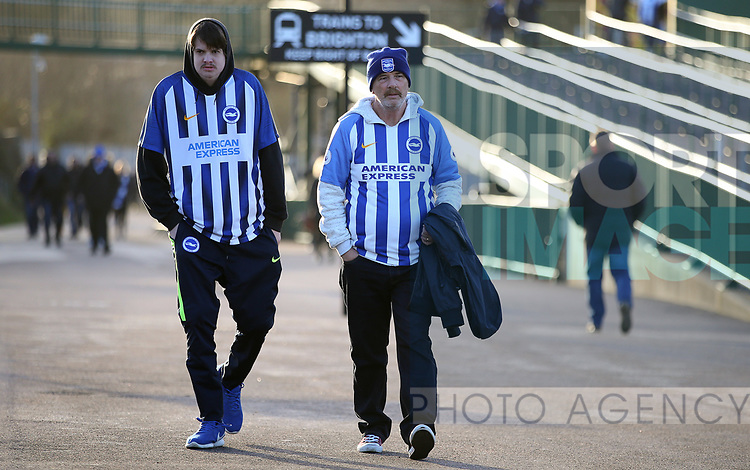 Brighton Fans head towards the stadium ahead of the Premier League match at the American Express Community Stadium, Brighton and Hove. Picture date: 8th February 2020. Picture credit should read: Paul Terry/Sportimage