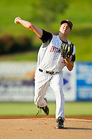 Kannapolis Intimidators starting pitcher Tony Bucciferro (32) in action against the Hickory Crawdads at CMC-Northeast Stadium on July 26, 2013 in Kannapolis, North Carolina.  The Intimidators defeated the Crawdads 2-1.  (Brian Westerholt/Four Seam Images)