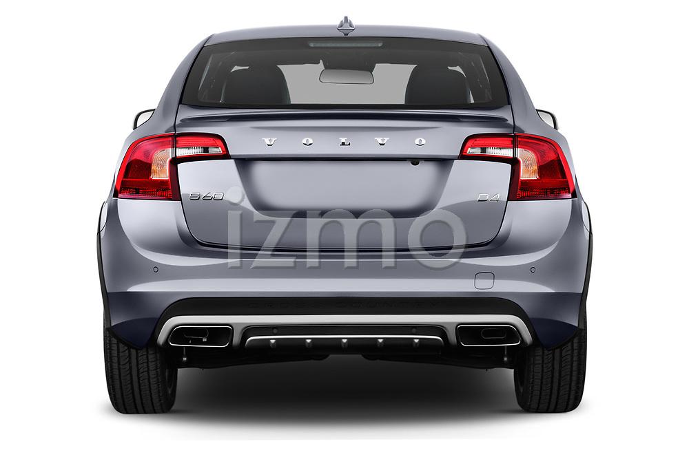 Straight rear view of 2017 Volvo S60 T5 Platinum 4 Door Sedan stock images