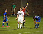 Aug. 25, 2012; Men's Soccer vs Duke; Ryan Finley reacts to a yellow card called on Duke..Photo by Matt Cashore/University of Notre Dame