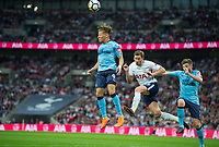 Tottenham's Jan Vertonghen and Newcastle's Dwight Gayle during the EPL - Premier League match between Tottenham Hotspur and Newcastle United at Wembley Stadium, London, England on 9 May 2018. Photo by Andrew Aleksiejczuk / PRiME Media Images.