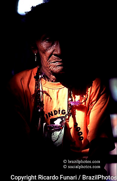 Portrait of an indigenous elderly woman during an indigenous meeting, Porto Seguro, Bahia State, Brazil.