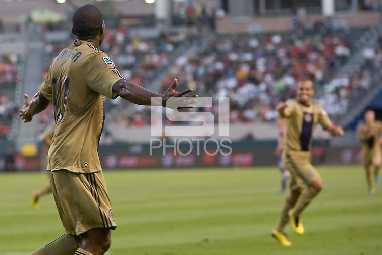 Philadelphia Union forward Danny Mwanga (10) begins to celebrate after scoring a goal. The Philadelphia Union and CD Chivas USA played to 1-1 draw at Home Depot Center stadium in Carson, California on Saturday evening July 3, 2010..