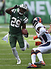 New York Jets running back Bilal Powell, right, picks up yards during an NFL game against the Denver Broncos at MetLife Stadium in East Rutherford, NJ on Sunday, Oct. 7, 2018.