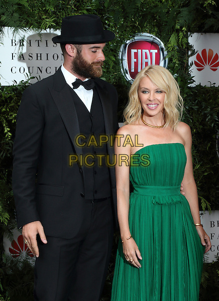 Joshua Sasse and Kylie Minogue at the One For The Boys Charity Ball, Victoria and Albert Museum, London on June 12th 2016<br /> CAP/ROS<br /> &copy;Steve Ross/Capital Pictures