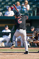 A.J. Jimenez #6 of the Lansing Lugnuts at bat versus the South Bend Silver Hawks at Coveleski Stadium April 15, 2009 in South Bend, Indiana. (Photo by Brian Westerholt / Four Seam Images)
