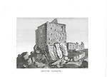 Engravings of Scottish landscapes and buildings from late eighteenth and early nineteenth century, Dunnure Castle, Scotland, UK