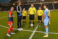 Chicago, IL - Saturday Sept. 24, 2016: Ali Krieger, Christen Press, Chicago Sky basketball player Imani Boyette, Matthew Franz, Adrienne McDonald, Maggie Short, Edgar Osorio prior to a regular season National Women's Soccer League (NWSL) match between the Chicago Red Stars and the Washington Spirit at Toyota Park.