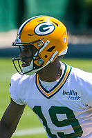 Green Bay Packers wide receiver Malachi Dupre (19) during an OTA on June 1, 2017 at Clark Hinkle Field in Green Bay, Wisconsin. (Brad Krause/Krause Sports Photography)