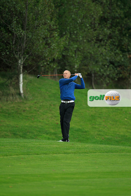 Mark Staunton (Ballinasloe G.C) on the 18th during Round 3 of The Cassidy Golf 103rd Irish PGA Championship in Roganstown Golf Club on Saturday 12th October 2013.<br /> Picture:  Thos Caffrey / www.golffile.ie