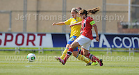 Imma Helin of Sweden tackles Guro Reiten of Norway  during the UEFA Womens U19 Championships at Stebonheath park Sunday 25th August 2013. All images are the copyright of Jeff Thomas Photography-www.jaypics.photoshelter.com-07837 386244-Any use of images must be authorised by the copyright owner.